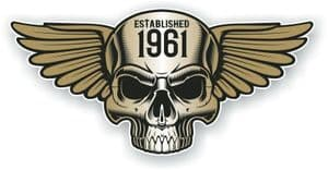 Vintage Biker Skull With Wings Established 1961 Cafe Racer Motorcycle Vinyl Sticker Decal 125x60mm