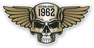 Vintage Biker Skull With Wings Established 1962 Cafe Racer Motorcycle Vinyl Sticker Decal 125x60mm