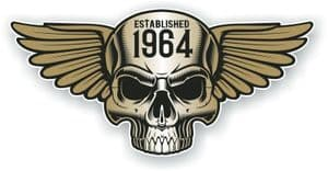 Vintage Biker Skull With Wings Established 1964 Cafe Racer Motorcycle Vinyl Sticker Decal 125x60mm