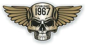 Vintage Biker Skull With Wings Established 1967 Cafe Racer Motorcycle Vinyl Sticker Decal 125x60mm