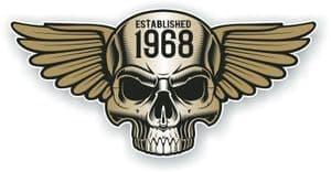 Vintage Biker Skull With Wings Established 1968 Cafe Racer Motorcycle Vinyl Sticker Decal 125x60mm