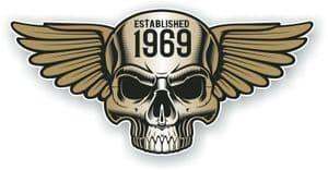 Vintage Biker Skull With Wings Established 1969 Cafe Racer Motorcycle Vinyl Sticker Decal 125x60mm