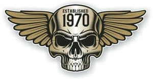 Vintage Biker Skull With Wings Established 1970 Cafe Racer Motorcycle Vinyl Sticker Decal 125x60mm