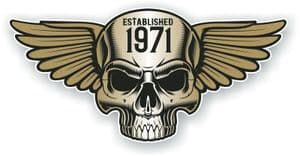 Vintage Biker Skull With Wings Established 1971 Cafe Racer Motorcycle Vinyl Sticker Decal 125x60mm