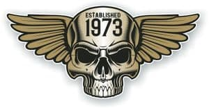 Vintage Biker Skull With Wings Established 1973 Cafe Racer Motorcycle Vinyl Sticker Decal 125x60mm