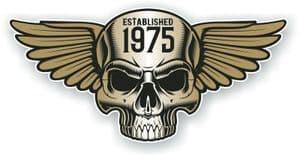Vintage Biker Skull With Wings Established 1975 Cafe Racer Motorcycle Vinyl Sticker Decal 125x60mm