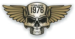 Vintage Biker Skull With Wings Established 1976 Cafe Racer Motorcycle Vinyl Sticker Decal 125x60mm