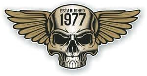 Vintage Biker Skull With Wings Established 1977 Cafe Racer Motorcycle Vinyl Sticker Decal 125x60mm
