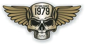Vintage Biker Skull With Wings Established 1979 Cafe Racer Motorcycle Vinyl Sticker Decal 125x60mm