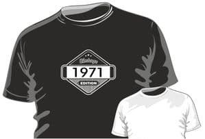 Vintage Edition 1971 Motif Birthday Occasion Anniversary gift mens or ladyfit t-shirt
