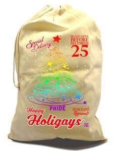 X-Large Cotton Drawcord LGBT Christmas Santa Sack Gift Bag & Gay Pride Christmas Tree Rainbow Motif