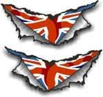 XLARGE Pair Triangular Ripped Torn Metal & Union Jack British Flag Motif Vinyl Car Sticker 300x140mm