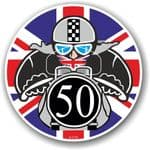 Year Dated 1950 Cafe Racer Roundel Design & Union Jack Flag Vinyl Car sticker decal 90x90mm