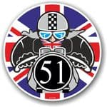 Year Dated 1951 Cafe Racer Roundel Design & Union Jack Flag Vinyl Car sticker decal 90x90mm