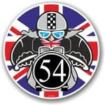 Year Dated 1954 Cafe Racer Roundel Design & Union Jack Flag Vinyl Car sticker decal 90x90mm
