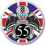 Year Dated 1955 Cafe Racer Roundel Design & Union Jack Flag Vinyl Car sticker decal 90x90mm