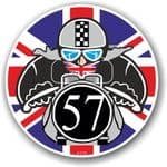 Year Dated 1957 Cafe Racer Roundel Design & Union Jack Flag Vinyl Car sticker decal 90x90mm