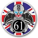 Year Dated 1961 Cafe Racer Roundel Design & Union Jack Flag Vinyl Car sticker decal 90x90mm
