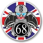 Year Dated 1968 Cafe Racer Roundel Design & Union Jack Flag Vinyl Car sticker decal 90x90mm