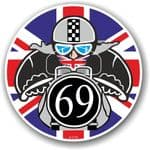 Year Dated 1969 Cafe Racer Roundel Design & Union Jack Flag Vinyl Car sticker decal 90x90mm