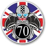 Year Dated 1970 Cafe Racer Roundel Design & Union Jack Flag Vinyl Car sticker decal 90x90mm