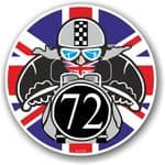 Year Dated 1972 Cafe Racer Roundel Design & Union Jack Flag Vinyl Car sticker decal 90x90mm