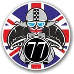 Year Dated 1977 Cafe Racer Roundel Design & Union Jack Flag Vinyl Car sticker decal 90x90mm