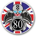 Year Dated 1980 Cafe Racer Roundel Design & Union Jack Flag Vinyl Car sticker decal 90x90mm