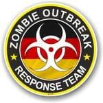 Zombie Outbreak Response Team Design With German Flag Motif External Vinyl Car Sticker 100x100mm