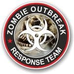 Zombie Outbreak Response Team Design With Skull & Cobwebs Motif External Vinyl Car Sticker 100x100mm