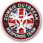 Zombie Outbreak Response Team Design With UK British Flag Motif External Vinyl Car Sticker 100x100mm