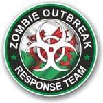 Zombie Outbreak Response Team Design With Welsh Flag Motif External Vinyl Car Sticker 100x100mm