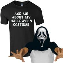 Ask Me About My Halloween Costume Scream Mask T-Shirt Funny Zombie Mens Flip Top