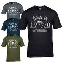 Born in 1970 T-Shirt - 50th Year Birthday Age Present Beer Funny Aged Mens Gift