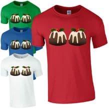 Christmas Pudding Boobs T-Shirt - Funny Merry Xmas Mens Secret Santa Gift Top