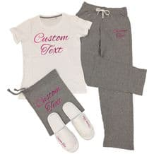 Custom Printed T-Shirt & Trousers Pyjamas Set - Personalised Sleep Over Party PJ