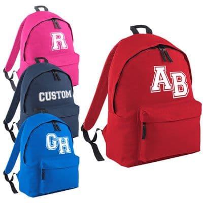 Custom Varsity Backpack - American College Fraternity Inspired Initials Rucksack