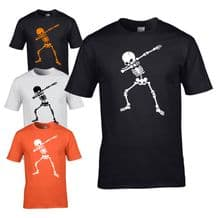 Dabbing Skeleton Mens T-shirt - Halloween Scary Mens Costume Fancy Dress Top