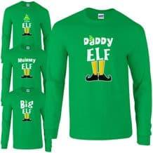 Elf Family Long Sleeved T-Shirt - Funny Cute Christmas Pyjama PJ's Idea Gift Top