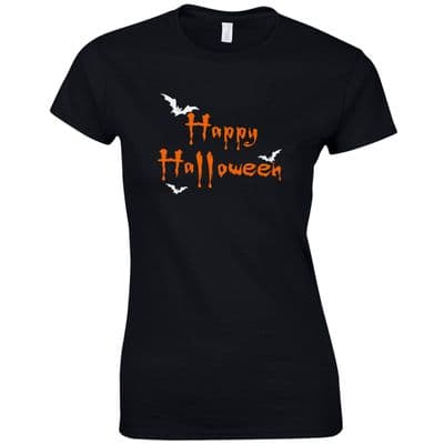 Happy Halloween Freaky Bats Ladies Fitted T-Shirt - Funny Fancy Dress Gift Top