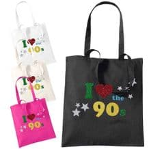 I Love The 90s Glitter Printed Tote Bag - Fancy Party Gift Fashion Shopping Bags