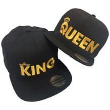 King Queen Pair Embroidered Rapper Cap Set