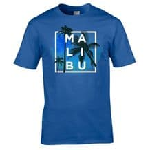 MALIBU T-Shirt - Palm Tree California City Beach Holiday Unisex Tee Mens Top