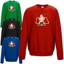 Naughty Santa Flashing Ho Ho Ho Sweatshirt Funny Rude Christmas Gift Joke Jumper