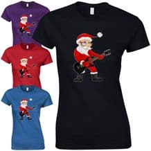 Rock Star Santa Ladies Fitted T-Shirt - Funny Father Christmas Rocking Claus Top