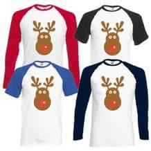 Rudolph Reindeer Face Baseball T-Shirt - Christmas Retro Rudolf Xmas Gift Top