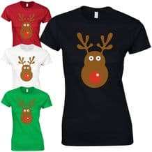 Rudolph Reindeer Face Ladies Fitted T-Shirt - Christmas Retro Rudolf Gift Top
