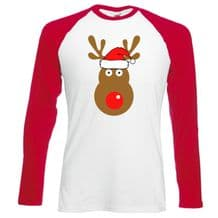 Rudolph Reindeer Face Santa Hat Baseball T-Shirt - Retro Cute Christmas Top