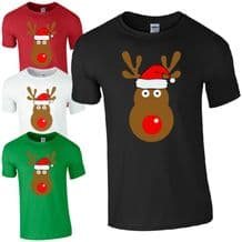 Rudolph Reindeer Face Santa Hat T-Shirt - Retro Cute Christmas Kids Mens Top