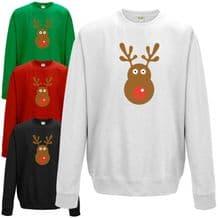 Rudolph Reindeer Face Sweatshirt - Christmas Retro Rudolf Xmas Gift Jumper Top